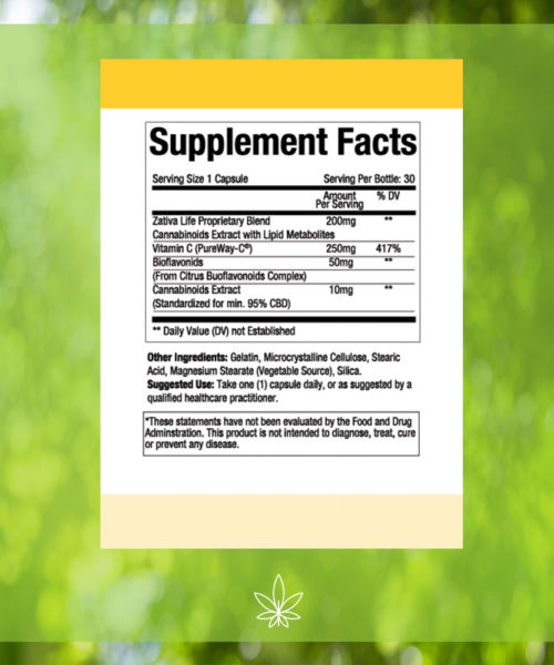 Advanced-Vitamin-C-300mg-CBD-Capsule-Supplement-Facts -label