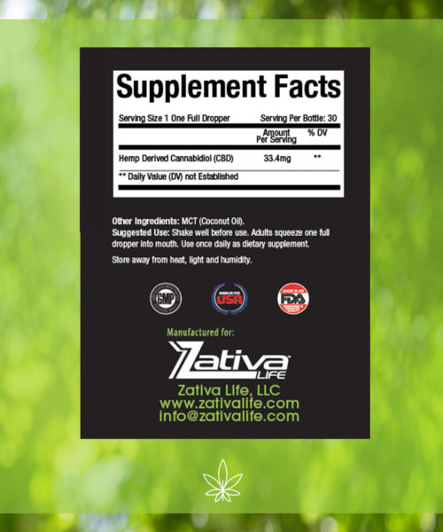 Zativa 1000mg 30ml Original Flavor-supplement-facts-label