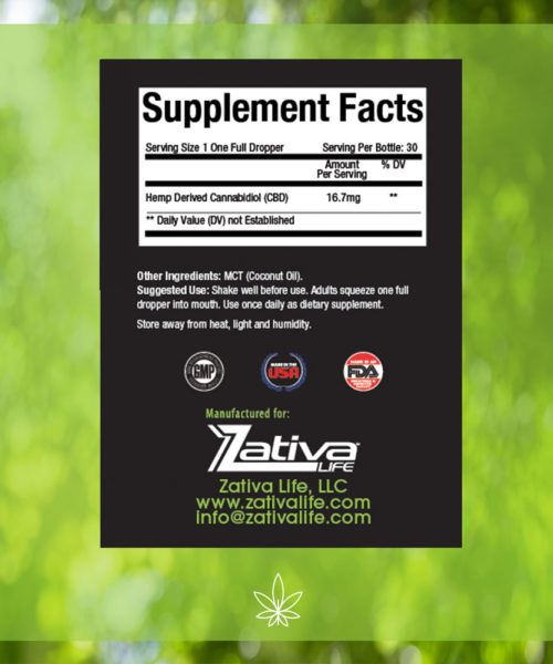 Zativa 500 mg 30ml Peppermint Flavor-supplement-facts-label