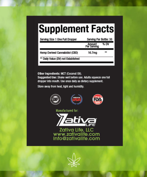Zativa 500mg 30ml Original Flavor-supplement-facts-label