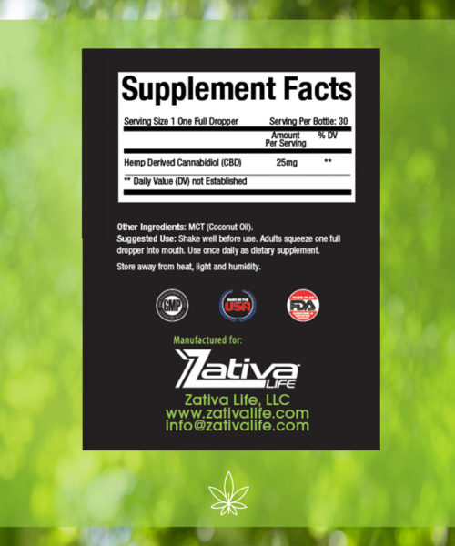 Zativa 750mg 30ml Peppermint Flavor-supplement-facts-label