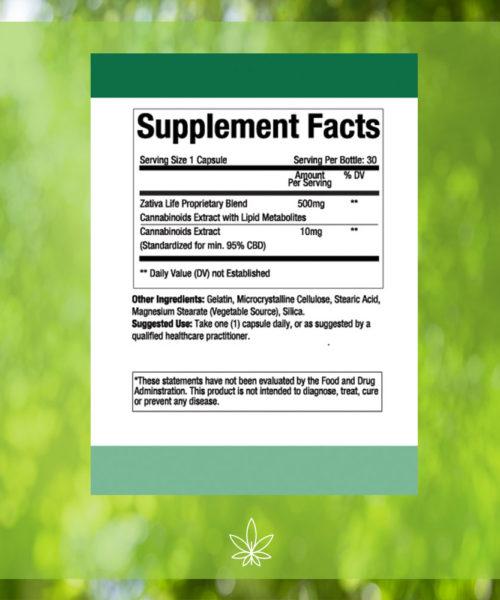 zativa-life-Advanced-formula--300mg-CBD-Capsule-Supplement-Facts -label