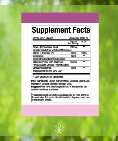 zativa-life-advanced-immuno-shield-immune-health-300mg-CBD-capsule-Supplement-Facts -label