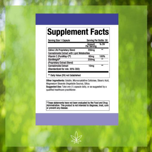 zativa-life-advanced-weight-loss-appetite-suppressant-300mg-CBD-Capsule-Supplement-Facts-label