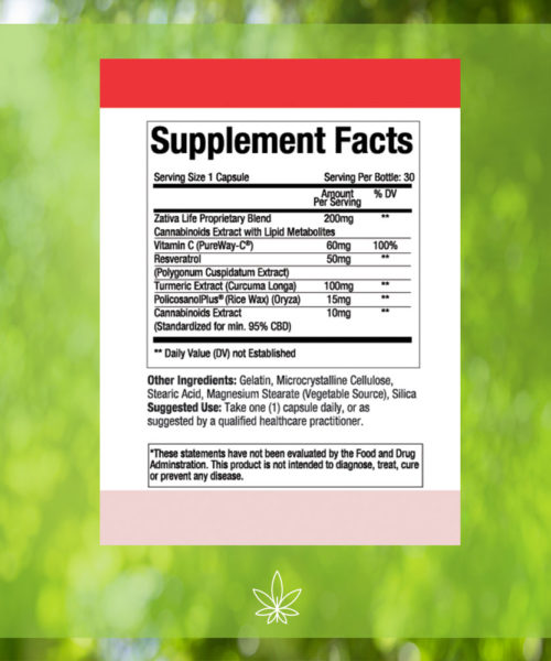 zativa-life-cardiovascular-health-300mg-CBD-Capsule- Supplement-Facts -label