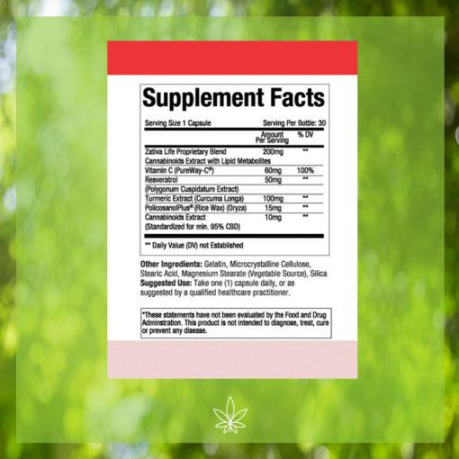 zativa-life-cardiovascular-health-300mg-CBD-Capsule- Supplement-Facts -label