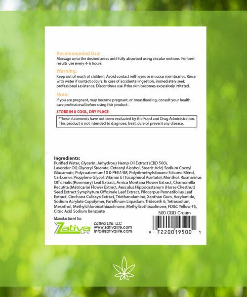 Zativa 500 mg Pain Relief Hemp Cream label